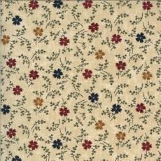 Patchworkstoff Tan Cornflowers Kornblumen rot blau gelb grün weiß Blumen 9642-11