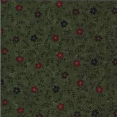 Patchworkstoff Green Cornflowers Kornblumen blau braun grün rot Blumen 9642-15