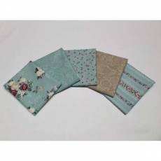 Paket Fat Quarters 45 x 55 cm Rosen Ranken blaugrau rosarot braun marmoriert Blumen weiß Emily Roses Fat22
