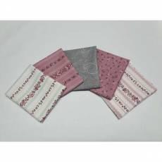 Paket Fat Quarter 45 x 55 cm Rosen Ranken rosarot blaugrau Blumen weiß Emily Roses Fat41