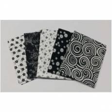 Fat Quarter 45x55 cm schwarz weiß abstrakte Muster Blumen Fat2