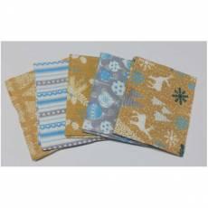 Patchwork Paket Fat Quarters 45 cm x 55 cm Rentiere Weihnachten Christbaumkugeln Tannenbaum weiß petrol sand grau Fat5