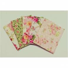 Patchworkstoff Quilt Stoff Fat Quarter Paket 45 cm x 55 cm Blumen Rosen rosa hellgrün weiß Fat17