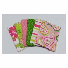 Patchworkstoff Paket Fat Quarters 45 cm x 55 cm grün rosa weiß Blumen Streifen Paisley Fat14