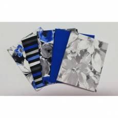 Patchwork Fat Quarter 45 cm x 55 cm Blumen Streifen weiß blau schwarz grau Fat12