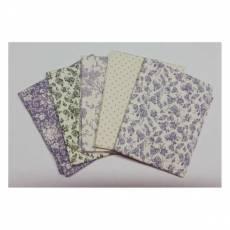 Fat Quarter 45 cm x 55 cm Blumen Punkte Rosen weiß violett olivgrün Fat27