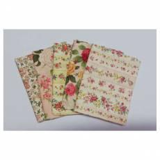 Patchworkstoff Quilt Stoff Fat Quarter Paket  45 cm x 55 cm Blumen creme rosa violett gelb lachs Fat28