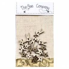Knopf Holzknopf 16 Sterne  mini  Christmas stars altgold creme  TE6D
