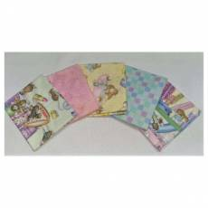 Kinderstoff Patchwork Quilt Stoff Fat Quarter Paket 45 cm x 55 cm Mäuse Badezimmer Wellness Schminke pastell FatA8