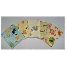 Kinderstoff Patchwork Quilt Stoff Fat Quarter Paket 45 cm x 55 cm Tiere Elefanten Bäume Katzen Vögel FatA12
