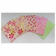 Patchwork Quilt Stoff Fat Quarter Paket 45 cm x 55 cm Blumen rosa grün rot hellgrün gelb FatA5