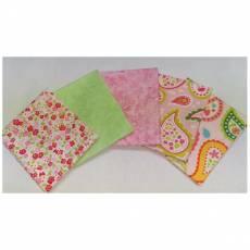 Patchwork Quilt Stoff Fat Quarter Paket 45 cm x 55 cm Paisley Blumen rosa hellgrün rot FatA6