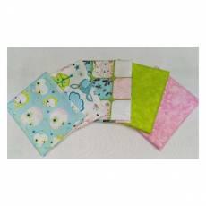 Kinderstoff Patchwork Quilt Stoff Fat Quarter Paket 45 cm x 55 cm Vögel Eulen hellgrün rosa  FatA9