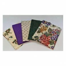 Patchwork Fat Quarter Paket 5 x 45 cm x 55 cm Blumen beige lila dunkelgrün rot  Fat42