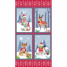 Patchworkstoff Quilt Stoff Winter Nordic Forest Panel 60x110 cm Eisbär, Fuchs, Reh, Hase  9571P-88