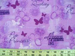 Patchworkstoff Quilt Stoff Hannah Montana lila Pop Princess Star Quality CP24153