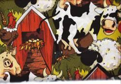 Patchworkstoff Quilt Stoff Funny Farm Bauernhof Tiere REST 50 cm x 55 cm FQ 23501