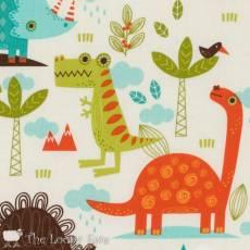 Patchworkstoff Quilt Stoff Dino Dinosaurier *Dinosaur* creme REST 50 cm x 55 cm  RB C4160