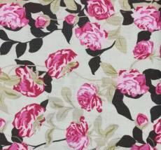 Patchworkstoff Rosen ocker braun rosa pink REST 42 x 110 cm RK54