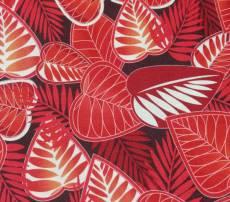 Patchworkstoff Sunset Blätter rot weiß REST 43 cm x 110 cm RK28
