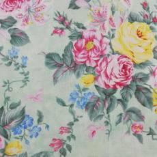 Patchworkstoff REST 50 x 110 cm Blumen Rosen rosa grün gelb 2549-65
