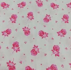 Patchworkstoff *Rosen* REST 58 x 110 cm Blüten Rosen rosa weiß RK24