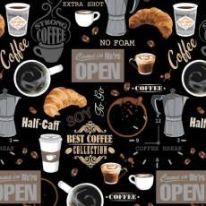 Patchworkstoff Quiltstoff Baumwollstoff *Neutral Coffee Shop* Kaffee Latte Macchiato Kaffeebohnen braun grau schwarz W 52259-2