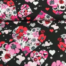 Patchworkstoff Quilt Stoff Valentine Herzen Blumen rosa pink grau schwarz 12996