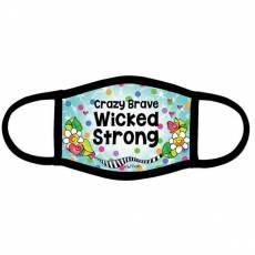 Restposten Mundschutz *Crazy Brave Wicked Strong* Designerin Suzy Toronto bunt MSK588