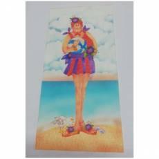 Patchwork Stoff Quilt Art Panel Beach Girl Badedame AP277154