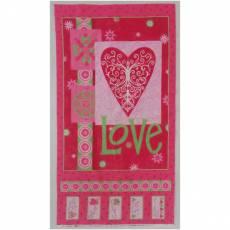 Patchworkstoff Panel *Love is in the air* Valentine pink grün