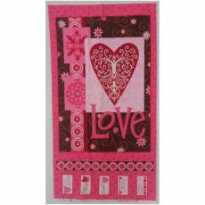 Patchworkstoff Panel *Love is in the air* Valentine pink braun
