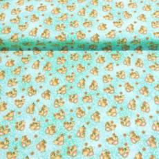 Patchworkstoff *Garden Days* Blumen Hase türkis weiß orange braun B10074