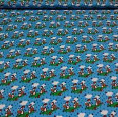 Jersey Kinderstoff Fuchs Füchse blau orange REST 60 cm x 160 cm J4868-218