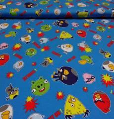 Jersey Kinderstoff *Angry Birds* wütende Vögel blau rot grün gelb  J7028431
