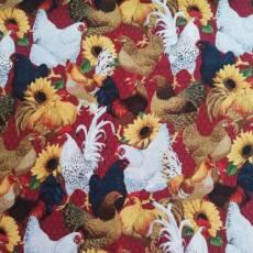 Auslaufmodell Ostern 2021 *Chicken and Sunflower* Hühner schwarz weiß rot Sonnenblumen gelb FT21-0001