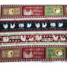 Baumwollstoff Borderstoff Streifenstoff *Poultry in Motion* Hahn Hähne schwarz rot beige SSI21-0013