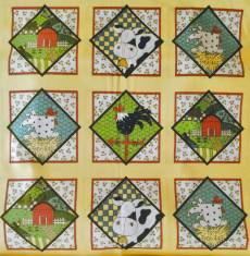 Patchworkstoff Quiltstoff Panel Hahn Huhn Hühner Stall Kuh Farm 30 x 110 cm RK21-0001