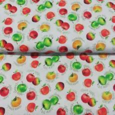 Patchworkstoff Quilt Stoff *Fresh Picked Stand* Apfel Äpfel grün rot gelb weiß PB FRES-245-MU