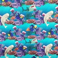 Baumwollstoff Kinderstoff little Darling Disney Pixar Findet Nemo Dorie blau orange weiß gelb grün 127-197