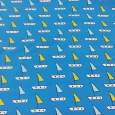 Jerseystoff Kinderstoff Boot Segelboote Boote blau weiß gelb J8833-118