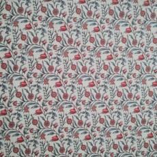 Jersey Blumen Ranken floral weiß rot blaugrau J34