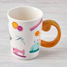 Nähtasse Tasse Kaffeetasse Becher Cup Maßband weiß rosa gelb N43712