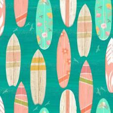 Patchworkstoff Baumwollstoff *Beach Travel* Surfboard surfen mint rosa weiß 3WF17333