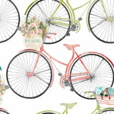 Patchworkstoff Baumwollstoff *Beach Travel* Fahrrad rot weiß grün 3WF17341