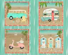 Patchworkstoff Baumwollstoff  Panel *Beach Travel* Bulli Bus Roller Kabine mint rosa weiß 3WF17336