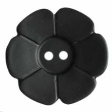 Knopf Kunststoffknopf Zweiloch Knöpfe Blume schwarz KK114509