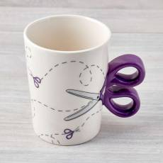 Nähtasse Tasse Kaffeetasse Becher Cup Schere weiß lila N43713