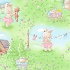 Patchworkstoff Stoff Quilt *Bunnies* Hasen Blumen Wiese Garten TT C7244