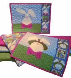 Materialpackung Platzdeckchen *Appli-Bunnies* 2 Stck. ca. 40 x 30 cm Ostern Hase Bunny